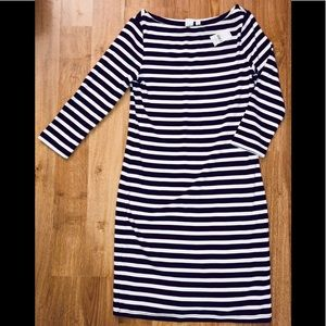 NEW WOTH TAG GAP Maroon White Striped Dress Small